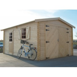 Garage en bois massif 19,26m² madriers 40mm SOLID