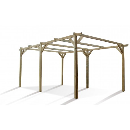 Carport simple 15,36m² en bois autoclave FSC Paco
