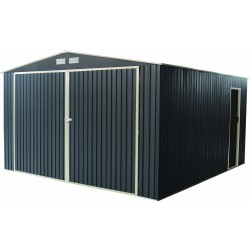 Garage métal anthracite double portes 19,61m² + kit d'ancrage X-METAL