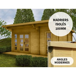 Abri en bois 19m² isolation parois 100mm traité marron Gardy Shelter