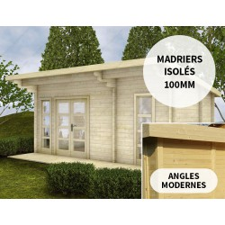 Abri en bois massif 19m² avec isolation madriers 100mm Gardy Shelter