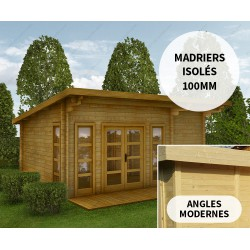 Abri en bois 22m² isolation parois 100mm traité marron Gardy Shelter