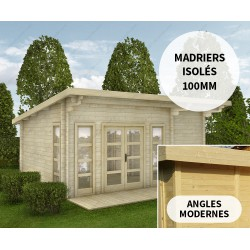 Abri en bois massif 22m² avec isolation madriers 100mm Gardy Shelter