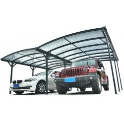 Carport double en aluminium anthracite et polycarbonate 6mm X-METAL
