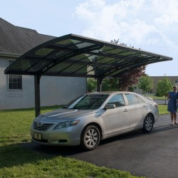 Carport en alu gris et polycarbonate Arizona Breeze 5000 Palram
