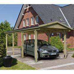 Carport simple double pente 19,60m² en bois autoclave FSC - Karibu