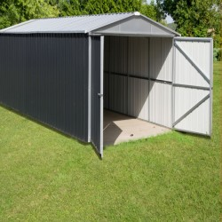 Garage métal anthracite 19,07m² + kit d'ancrage inclus - YARDMASTER