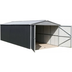 Garage métal anthracite 22,63m² + kit d'ancrage inclus - YARDMASTER